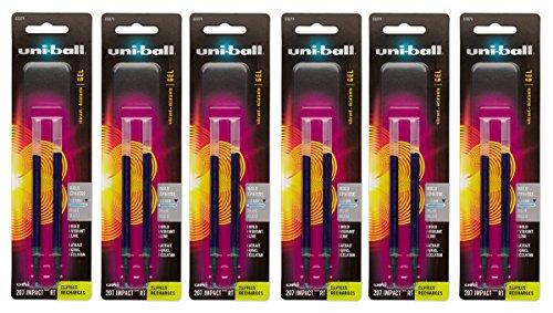 Hybrid Gel Roller Pen Refill (Uni-ball Signo Impact 207 RT Refills, Blue Ink, 1.0 Mm Bold Point, 6 Packs of Refills 65874 =12 refills)