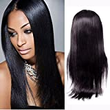 H&N Hair Brazilian Virgin Hair Full Lace Wigs Straight Human Hair Wigs with Baby Hair 130% Density For Black Women Natural Color (16inch)