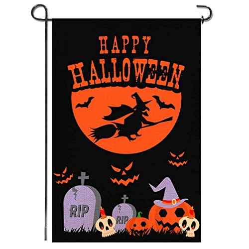 Shmbada Premium Welcome Happy Halloween Burlap Double Sided Garden Flag, Shows Graves Ghosts Witch Raven, Seasonal Fall Outdoor Decorative Banner for Home Yard Lawn Patio, 12.5 x 18.5 Inch