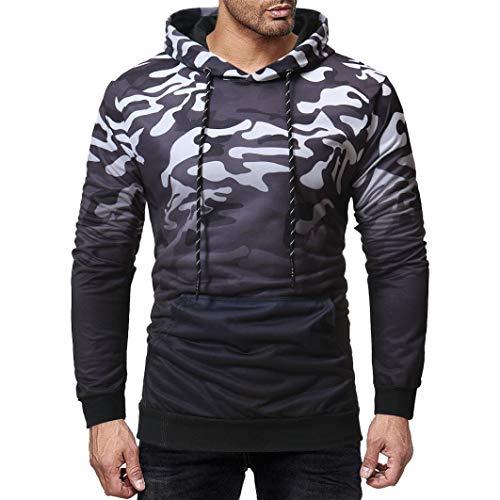 kaifongfu Sweater Tops,Camouflage Hooded Sweatshirt Mens Outwear