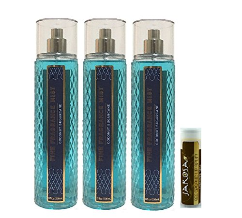 COCONUT SUGARCANE Bath & Body Works Set of Fine Fragrance Mist - 3 Pack with a Jarosa Chocolate Bliss Lip Balm by Jarosa Gifts