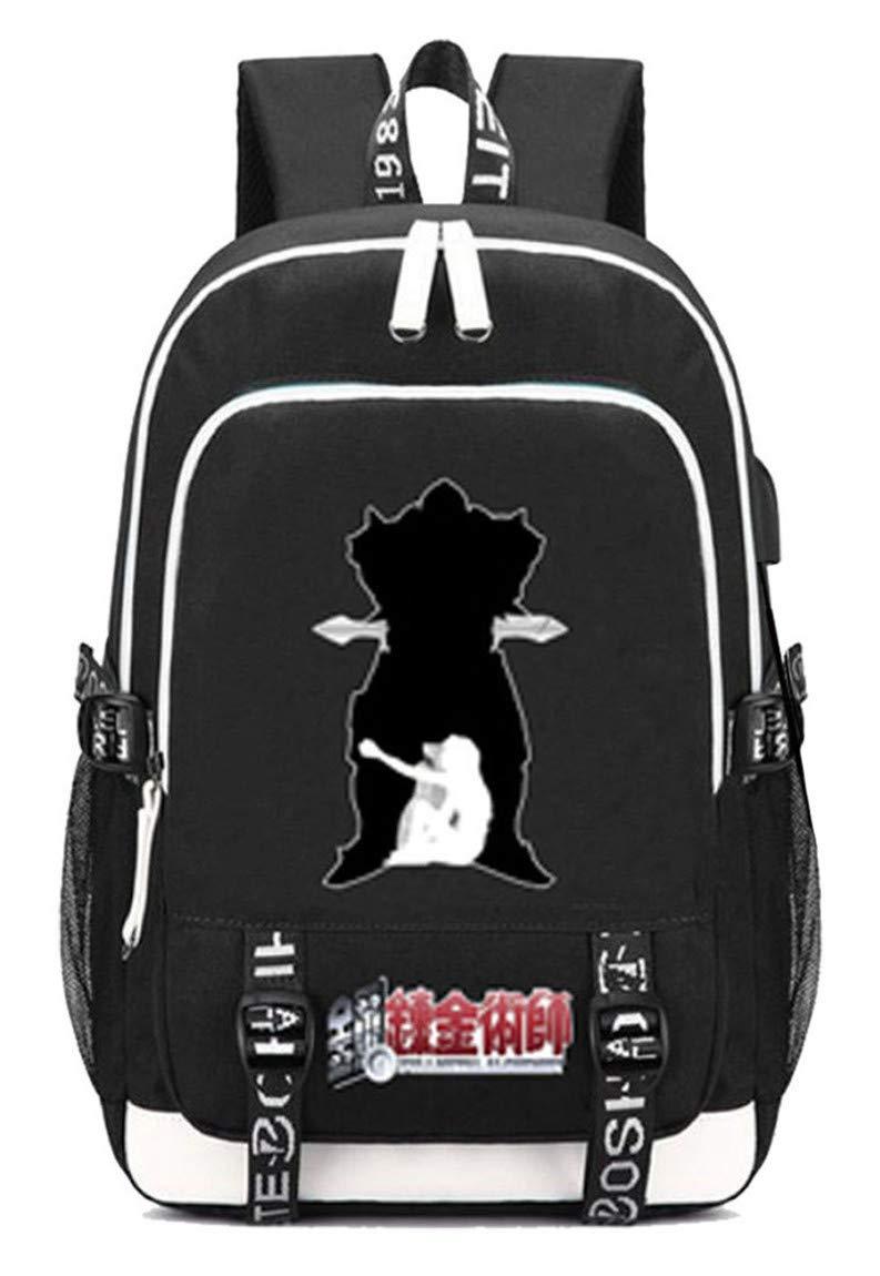 Fullmetal Alchemist  10 Cosstars Fullmetal Alchemist Anime Rucksack Schoolbag Laptop Backpack with USB Charging Port and Headphone Jack  6