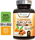 Turmeric Curcumin Highest Potency 95% Standardized Curcuminoids 1950mg with Bioperine for Best Absorption, Made in USA, Best Vegan Joint Pain Relief Turmeric Pills by Natures Nutrition - 120 Capsules