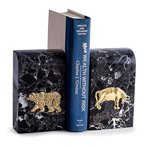 KensingtonRow Home Collection BOOKENDS -ICONS OF WALL STREET MARBLE BOOKENDS - BULL & BEAR BOOK ENDS
