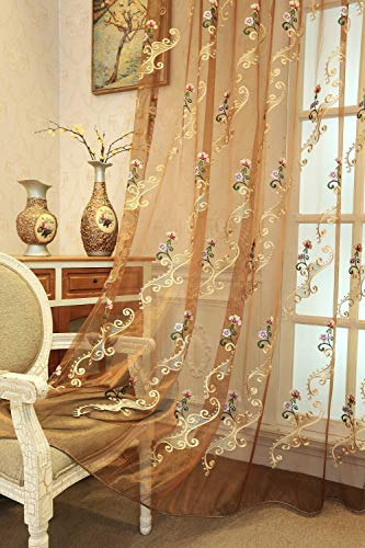 (Suntown Home Decorations Pinch Pleat Sheer Curtain for Bedroom Romantic Orchid Embroidery Window Panels/Treatment 84 inches Long for Living Room - 2 Pieces (Each Piece 55''×84'') - Coffee)