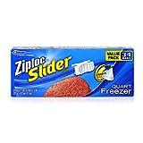 Ziploc Slider Quart Freezer Disposable Food Storage Bags, 34 Count