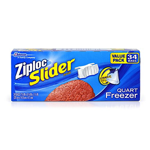 Price comparison product image Ziploc Slider Quart Freezer Disposable Food Storage Bags, 34 Count