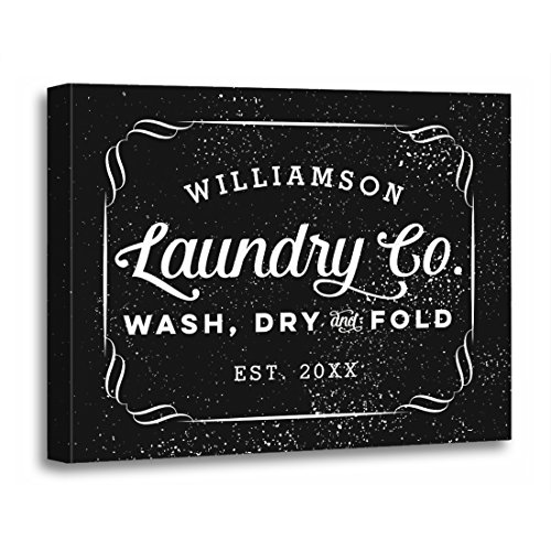 Personalized Laundry (TORASS Canvas Wall Art Print Room Personalized Laundry Co Wash Dry Fold Sign Vintage Artwork for Home Decor 12