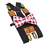 WaiiMak 2019 Kids Baby Boys Casual Cross Braces Suspenders and Pure Color Bow Tie Set (Red)