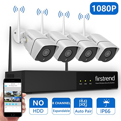 [Newest] Wireless Security Camera System, Firstrend 8CH 960P Wireless NVR System With 4pcs 1.3MP IP Security Camera with 65ft Night Vision and Easy Remote View, P2P CCTV Camera System(NO HDD)