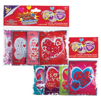 (Valentine Wack-A-Pack Assorted Self-Inflating Foil Balloons 4-ct. Packs (Set of)
