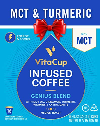 VitaCup Genius Blend 16ct. Top Rated Coffee Cups with MCT, Turmeric, and Cinnamon Infused With Essential Vitamins B12, B9, B6, B5, B1, and D3, Pods Compatible with K-Cup Brewers including Keurig 2.0