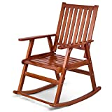 Giantex Rocking Chair Solid Wood Rocker Indoor Outdoor Porch Patio Furniture (Natural)