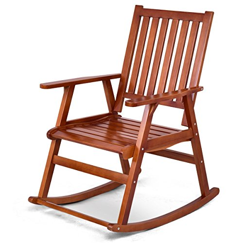 Giantex Rocking Chair Solid Wood Rocker Indoor Outdoor Porch Patio Furniture (Natural) by Giantex
