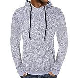 iZHH Men's Autumn Solid Hooded Sweatshirt Outwear Casual Tops Blouse(Gray,US-M)