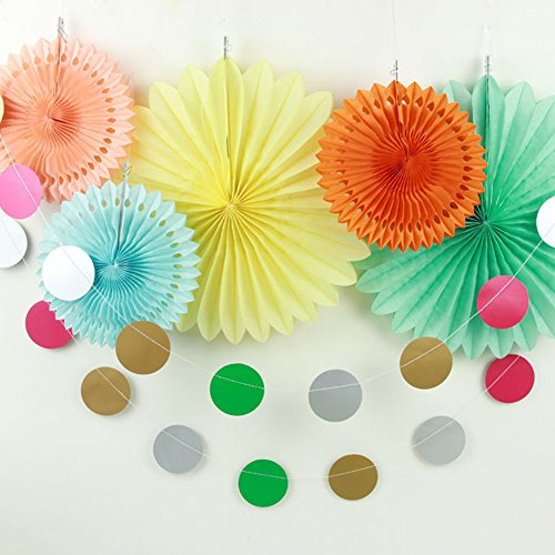 SUNBEAUTY Pack of 6 Yellow Orange Mint Tissue Paper Decorative Kit for Luau Party Summer Beach Photo Backdrop Decoration (Style - Garland Round