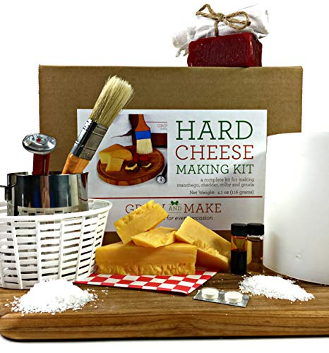 Grow and Make DIY Hard Cheese Kit - Learn how to make Gouda, Colby, Manchego and Cheddar Cheese at home!