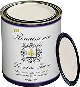 Renaissance Chalk Finish Paint - Chalk Furniture & Cabinet Paint - Non Toxic, Eco-Friendly, Superior Coverage - Ivory Tower (32oz)