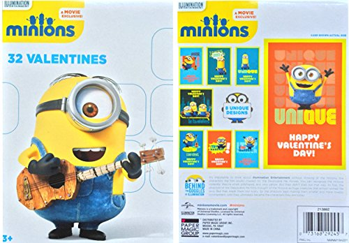 Despicable Me Minions 32 Valentines Fold and Seal Exchange Cards 8 Designs (Paper Magic) Universal Studios and Illumination Entertainment Movie Exclusive - Ages 3 and (Child Universal Studios)