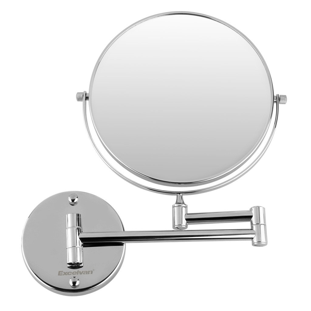 Excelvan 10x Magnification 8 Inch Double-Sided Swivel Wall Mount Makeup Mirror, 12 Inch Extension, Polished Chrome Finished by Excelvan