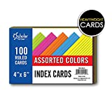 iScholar Index Cards, Assorted Colored, Ruled, 4 x 6 Inches, 100 Card Pack (04616)