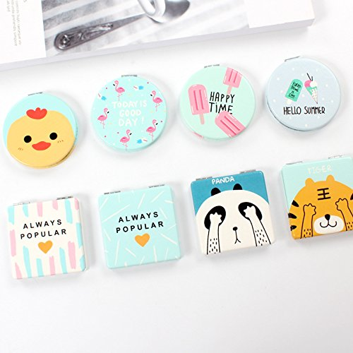 YChoice Cute Baby Toy Mini Square Shape Facial Animals Pattern Small Glass Mirrors for Crafts Decoration Cosmetic Accessory