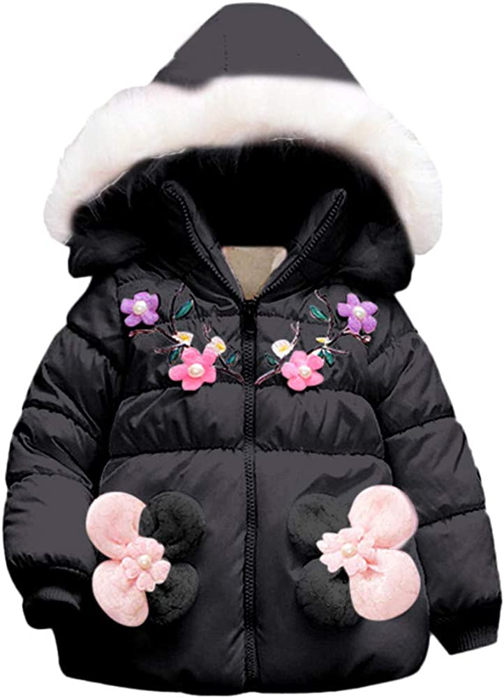 Wenjuan Thick Warm Hoodie Cloak Jacket,Toddler Infant Kids Baby Winter Floral Coat Outerwear Clothes Ruffle Irregular