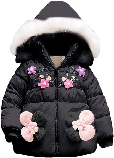 Franterd Winter Coat Little Boys Girls Floral Lightweight Warm Jacket Windproof Zipper Pockets Hooded Coats