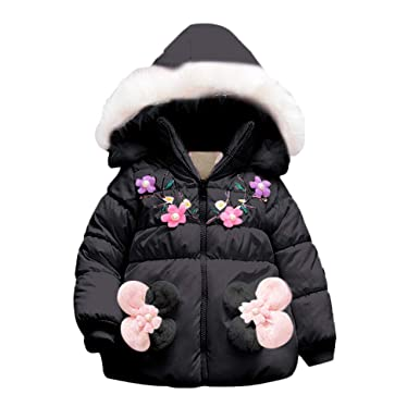 8c0464c9cc5a Amazon.com  Hatoys Baby Girls Cute Winter Floral Coat Cloak Jacket ...