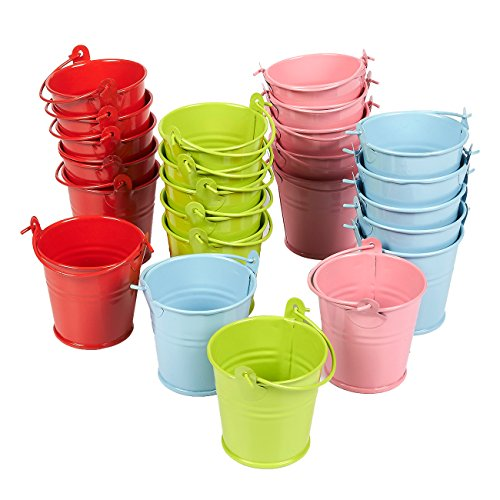 Juvale 24-Pack Small Metal Buckets - 2-Inch Mini Pails with Handles, for Party Favors, Candy, Votive Candles, Trinkets, Small Plants, Green, Blue, Pink, Red ()