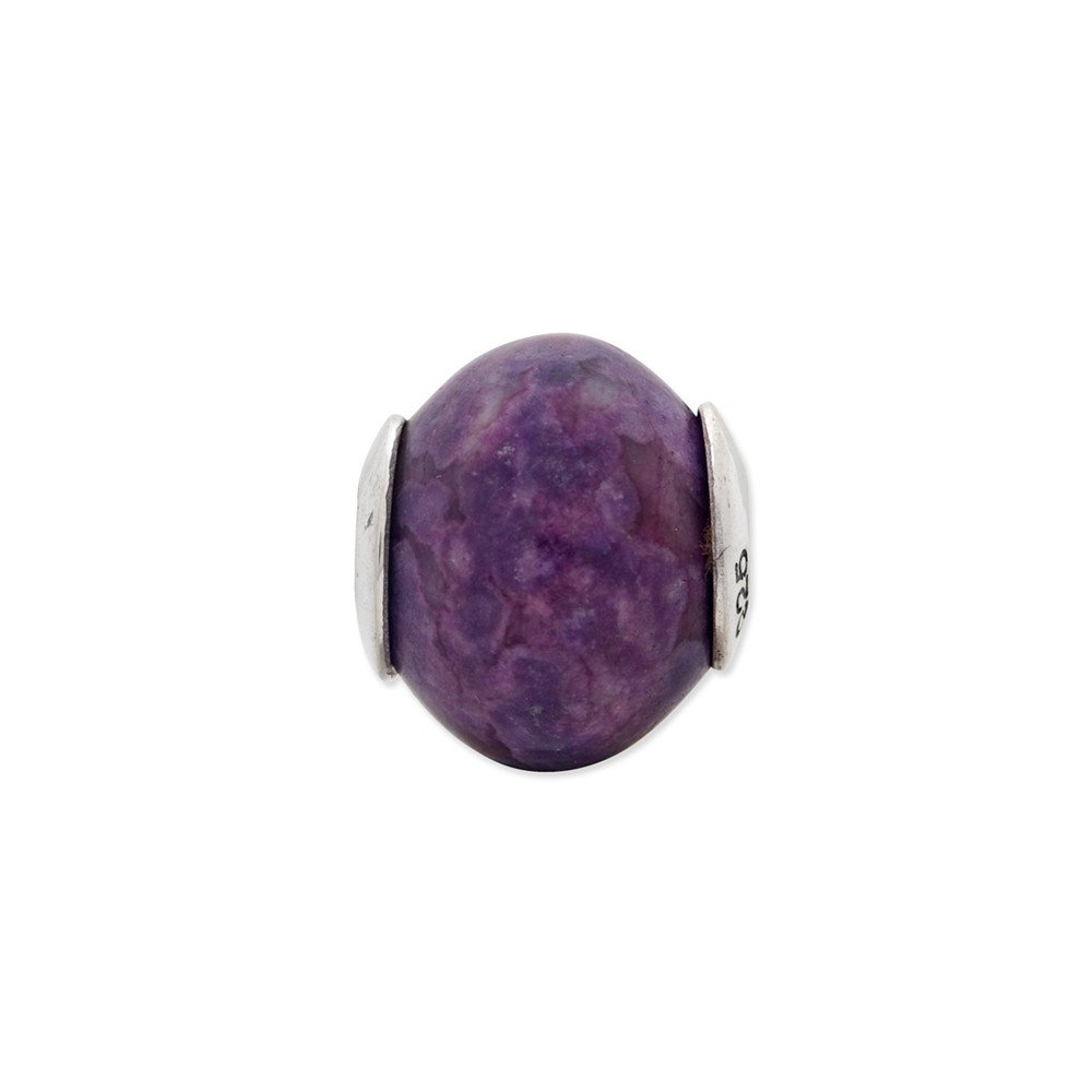 Sterling Silver Jewelry From the Earth Beads 12.73 mm 14.55 mm Reflections Purple Magnesite Stone Bead