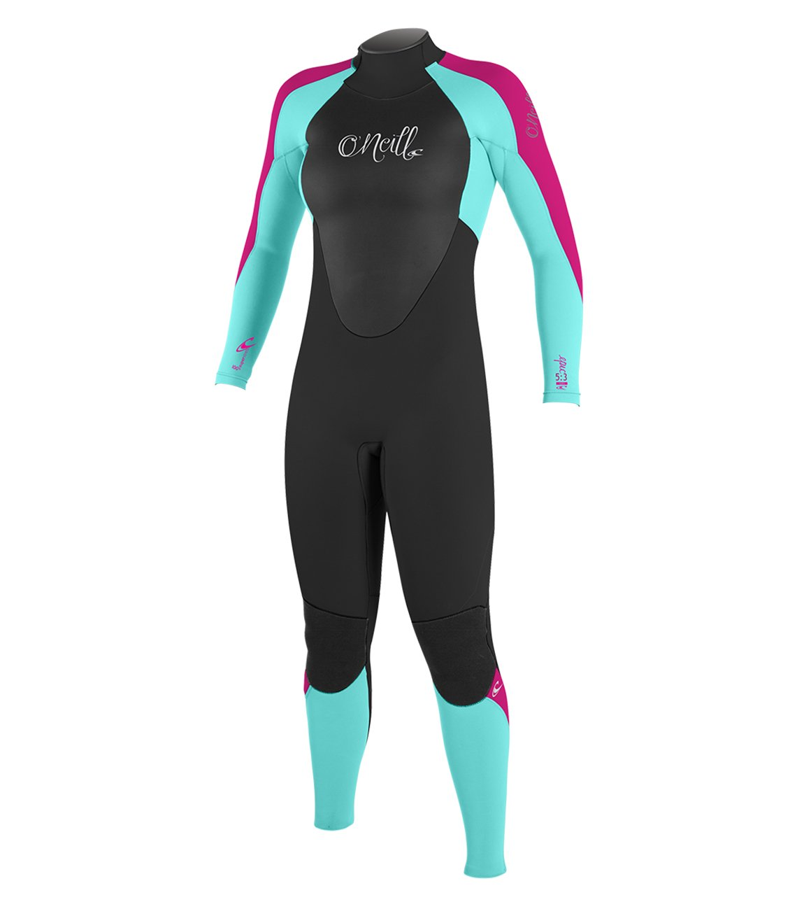 O'Neill Youth Epic 4/3mm Back Zip Full Wetsuit, Black/Sea Glass/Berry, 14 by O'Neill Wetsuits