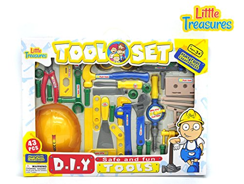 Kids Tool Set - 43 tool pieces for 3+ preschoolers - includes hammer, wrenches, pliers, screws, nails, shovel, and screwdriver along with costume helmet for kids to enjoy an educational (Shovel Girl Costume)