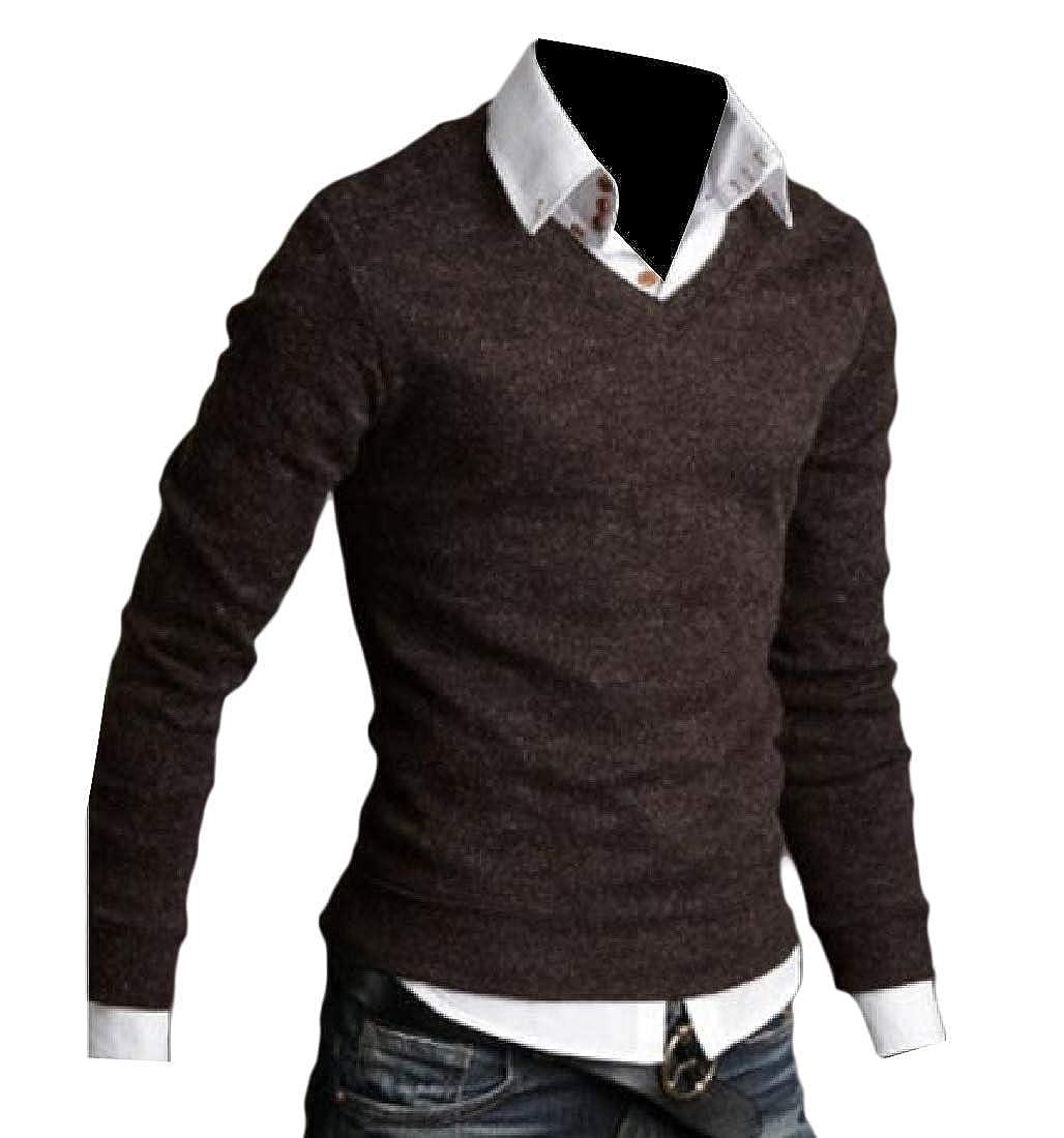 Zimaes-Men Basic Mock Neck Pure Colour Soft Fall Winter Slim Sweater