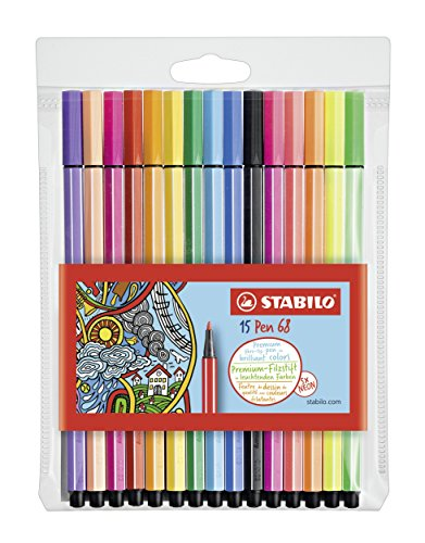 (Stabilo 68 Wallet Neon Fineliner Pens , Set of 15 , Multicolored)