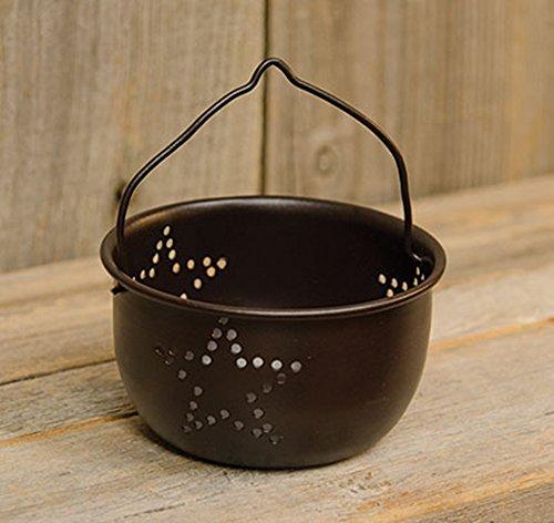 Mini Punched Star Colander Black Rustic Primitive Country Metal Kitchen Decor - Decorative - Perfect to hold Tea (Black Primitive Decor)
