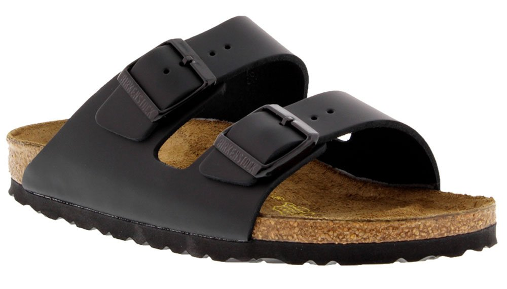 Birkenstock Women's Classic Cork Footbed Arizona 2-Strap Sandal In Natural Leather, Smooth Black Natural Leather' (37 M EU/6-6.5 B(M) US Women)
