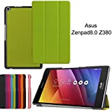 Asus Zenpad 8.0 Z380 Case, iDudu Slim Shell Lightweight Case PU Leather Standing Cover for Asus Zenpad 8.0 Z380 Tablet (Green)
