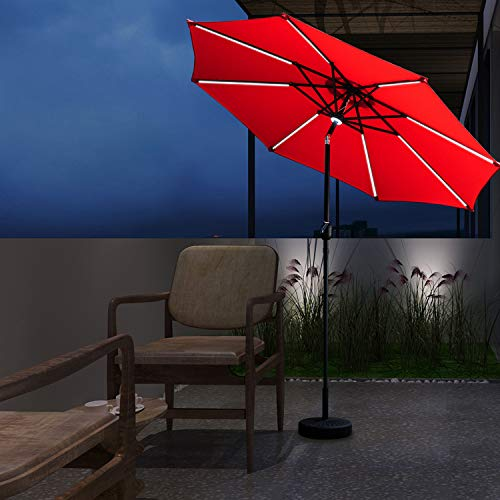 Wonlink 9FT Patio Umbrella,32 Solar Powered LED Lighted,Unique Central Hug Light and LED Waterproof Strip, Outdoor Umbrella with Push-Button Tilt Crank