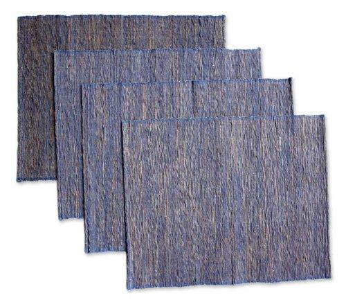 NOVICA Fiber Blend Blue Nature' (Set of 4) Cotton placemats