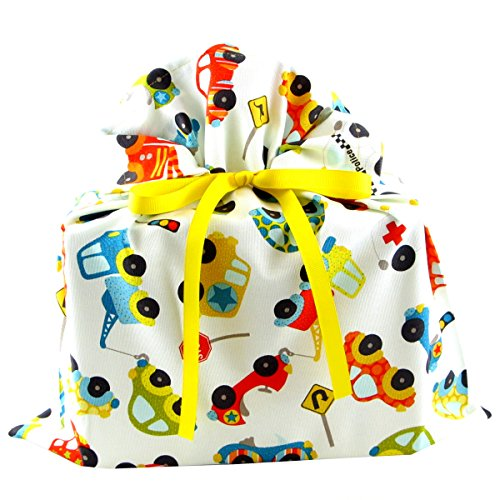 Reusable White Gift Bag with Cars and Trucks (Medium 17 Inches Wide by 18.5 Inches High)