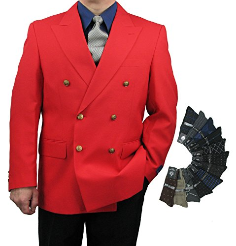 Men's Classic Fit Double-Breasted Blazer Jacket Sports Coat w/one Pair of Dress Socks - Red ()