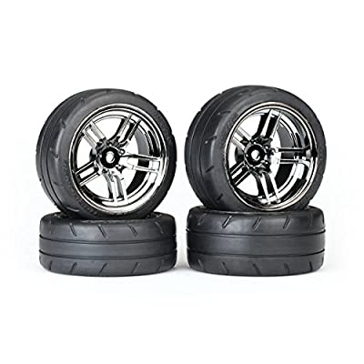 "Traxxas 8375 Assembled Black Chrome Split-Spoke Wheels with 1.9"" Response Tires (Rear): Toys & Games"