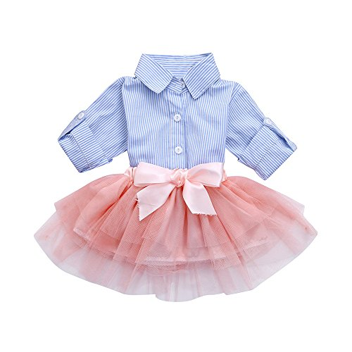 Kehen Fashion Toddler Baby Girls 2pcs Button Down Blue Stripes T-Shirt Tops+Bows Tutu Skirt Sets (Blue, 6-12 Months) Bow Girls T-shirt