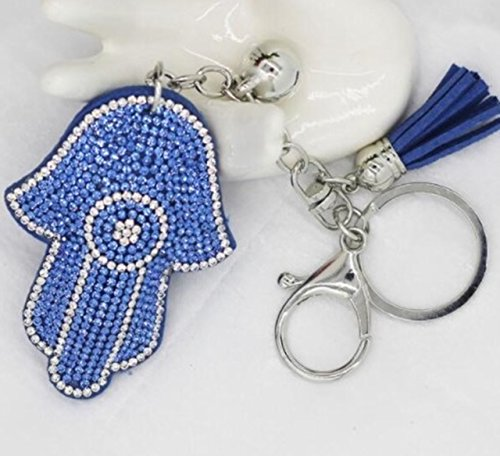 1 Pc Mini Pocket Hamsa Fatima Hand & Rhinestone Keychain Keyring Keyfob Antique Silver Palm Keys Chains Rings Tags Strap Wrist Peerless Popular Cute Wristlet Utility Keyrings Tool, Type-08 ()