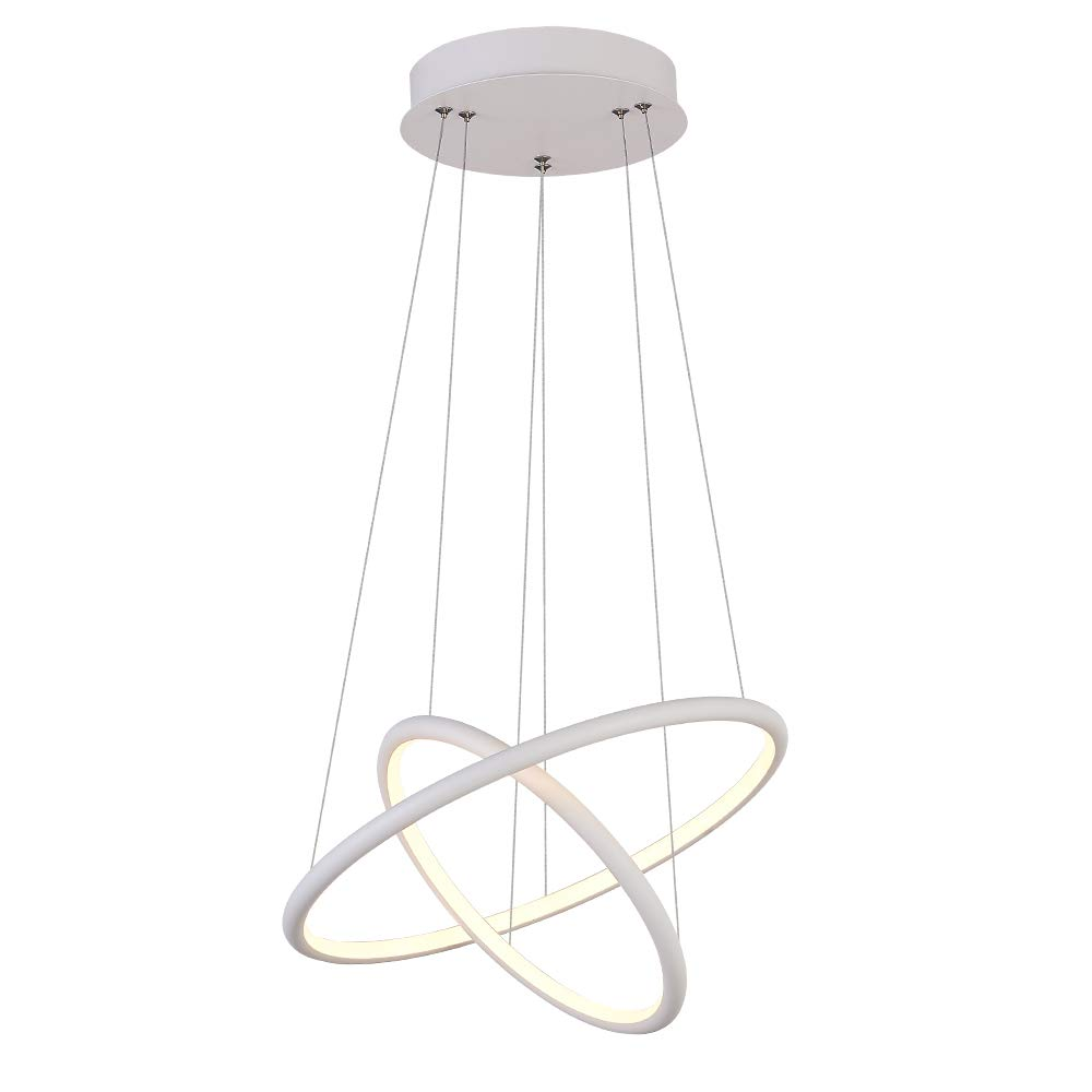 Modern Pendant Lighting for Kitchen Island, Adjustable Hanging Light Two Ring Collection Contemporary Ceiling Light by ROYAL PEARL
