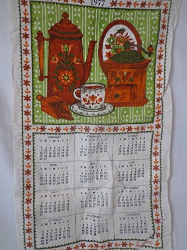 Vintage 1977 Brown and Green Calendar Linen Towel 16