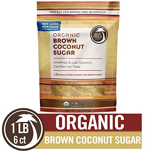 (Big Tree Farms Organic Brown Coconut Sugar, Non-GMO, Gluten Free, Vegan, Fair Trade, Natural Sweetener, 1 Pound (Pack of 6) (Packaging May)