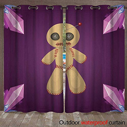 Home Patio Outdoor Curtain Voodoo Doll Flat icon Punishment Sign Spirituality Anger Magic Toy and Halloween Needle Witchcraft Horror Symbol Vector W72 x L108]()