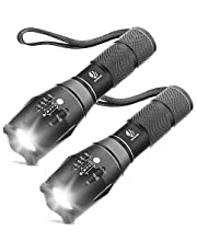Tactical Flashlight, YIFENG XML T6 Ultra Bright LED Flashlight with Adjustable Focus and 5 Light Modes for Camping Hiking (2 Pack)